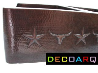 Double Bowl Copper Kitchen Sink Western Decor Barb Wire Long Horns Texas Stars
