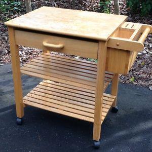 Rolling Wood Block Utility Kitchen Island Cart Wooden w Cutting Board
