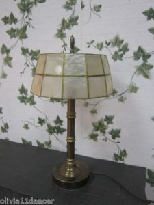 Mid Century Capiz Shell Hollywood Regency Table Accent Lamp Shade 60s Vtg