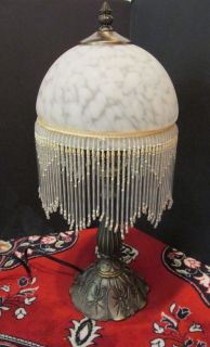 victorian style glass shade beaded fringe boudoir metal base table. Black Bedroom Furniture Sets. Home Design Ideas