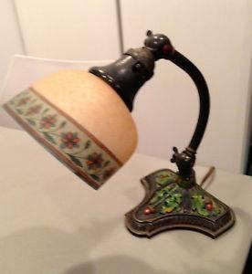Antique Lovely Bellova Student Desk Lamp Reverse Painted Glass Shade Acorn Base