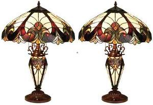 "1 Pair of Victorian Tiffany Style Stained Glass Table Lamps 18"" Shade Lit Base"