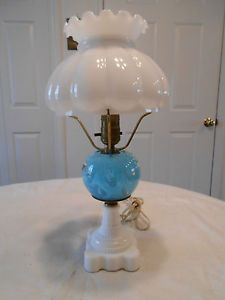 Vintage Blue Art Glass Paperweight Hurricane Lamp on Milk Glass Base Shade