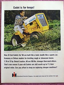 Vintage 1966 International Harvester Cub Cadet Riding Lawn Mower Tractor Ad