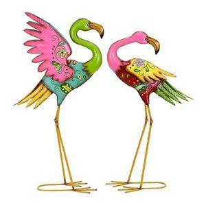 2 Metal Rainbow Flamingo Lawn Sculpture Set Garden Statues Yard Art Bird Decor
