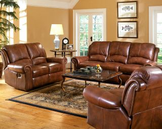 Italian Leather Sofa Set Leather 3pc Darby Recliner