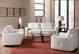 Coaster Furniture Jasmine White Bonded Leather Sofa Loveseat Living Room 502711