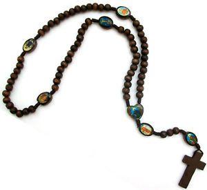 "Catholic Religious Wood Rosary Beads Cross Brown 24"""