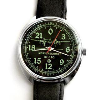 German WWII Luftwaffe Messerschmitt 110 Iron Cross 24 Hour Dial Mechanical Watch