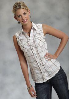 Roper Ladies Shirt Western Cotton Blend Sleeveless White Ground Plaid 0463
