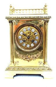 Antique 8 Day Ormolu Cube Mantle Clock RARE French Striking Bracket Mantel Clock