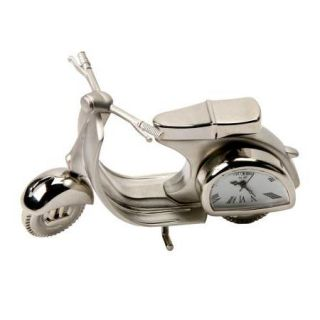 Vespa Scooter Silver Quality Miniature Desk Top Clock New 15310