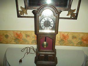 Mini Grandfather Clock Table Top Sunbeam Tempus Fugit Nice Condition Works  Good