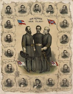 Civil War Confederate Flag Flags Stonewall Jackson Robert E Lee 13x19 Print