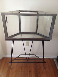 Antique Metaframe Stainless Steel Corner Aquarium on Stand Mid Century Modern