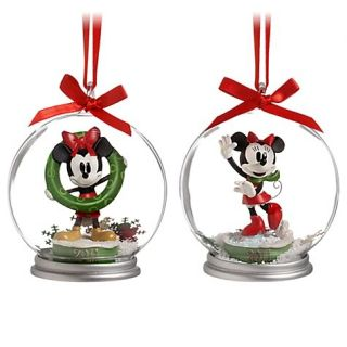 Disney 2011 Dated Christmas Tree MICKEY & MINNIE MOUSE SNOWGLOBE ORNAMENTS SET