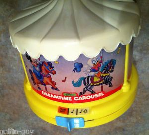 Vintage Disney Dreamtime Carousel Music Box Night Light Projector Works