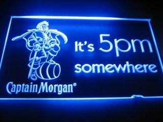B0529 It's 5 PM Somewhere Captain Morgan Beer Neon Light Sign
