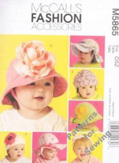 Pattern Sewing McCalls Toddler Baby Girl Boy Hats Bonnets Size XS XL New