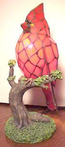 Gorgeous RARE Vintage Nantucket Red Cardinal Bird Stain Glass Night Light Lamp