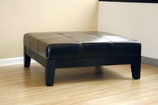 Black Ottoman Leather Cocktail Ottoman Modern Coffee Table Living Room Furniture