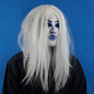 White Hair Woman Female Girl Lady Ghost Devil Evil Costume Halloween Party Mask