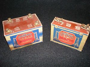 Antique 1929 Eveready Radio Batteries Type B and C Two Dry Cell Batteries