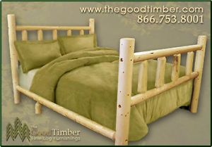 New Full Size Pine Log Bed Rustic Furniture Beds
