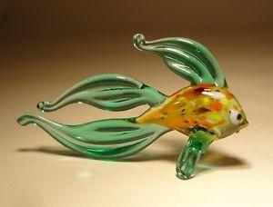 "Blown Glass ""Murano"" Art Figurine Small Aqua Betta Fish"