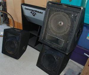 Cerwin Vega Je 36B Junior Earthquake Folded Subwoofer w 3 DJ Speaker Monitors