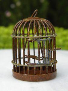 Miniature Dollhouse Fairy Garden Accessories Rust Metal Bird Cage New