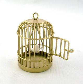Dollhouse Miniature Pet Accessory Bird in Brass Cage
