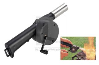 New Outdoor Cooking BBQ Fan Air Blower Barbecue Fire Bellows Hand Crank Powered