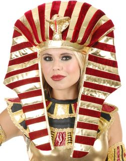 Gold and Burgundy Red Wine King Tut Pharaoh Egyptian Costume Headpiece