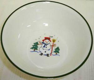Pfaltzgraff Snow Village Christmas Farm 2 Soup Bowls EC