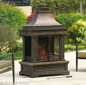 Anderson Grand Outdoor Patio Wood Burning Free Standing Fireplace New