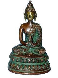 Buddha Statue Gautama Buddha Holding Medicine Bowl Brass Sculpture 5 Inch