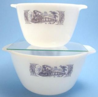 2 Currier Ives Blue on White Milk Glass Handled Mixing Bowls Train Scene