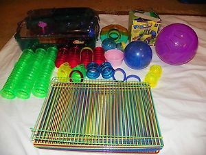 Habitrail Hamster Gerbil Cage Accessories Wheel Bowl Exercise Ball Tubes Clean