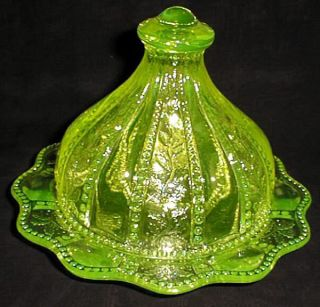 Vaseline Uranium Glass Holly and Berry Butter Dish