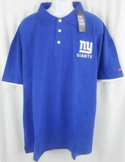 New York Giants NFL Team Apparel Blue Cotton Polo Golf Shirt Big Tall Sizes