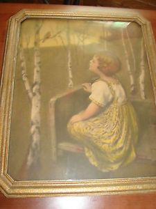Vintage Antique Wood Frame Print Picture Baby Girl Bird Tree Art Glass Old Art