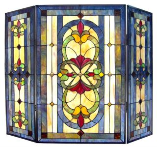 "Handcrafted 40"" x 31"" Tiffany Style Stained Glass Victorian Fireplace Screen"