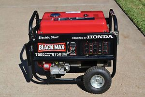 Black Max 7 000 Watt Portable Gas Generator with Electric Start Powered by Honda