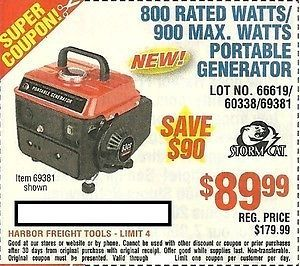 Coupons for portable generators