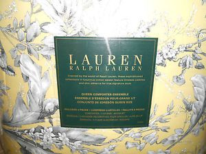 Ralph Lauren Yellow Gray Floral Queen Comforter Set 4 PC