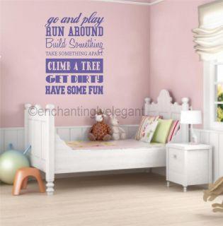 Go and Play Run Around Vinyl Decal Wall Sticker Kids Room Playroom Nursery