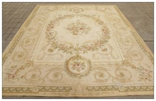 8'x10' Antique Style Aubusson Area Rug Pastel Beige Cream Vintage French Wool