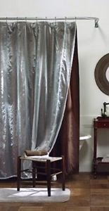 Threshold for Target Shower Curtain Brown with Blue Sheer Taffeta Overlay