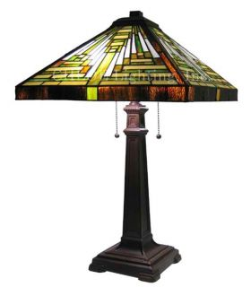 "Handcrafted Mission Styled Tiffany Style Stained Glass Table Lamp w 16"" Shade"